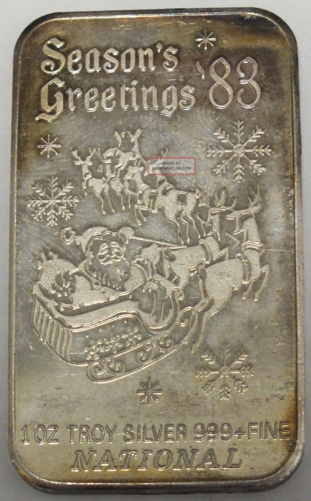 National Season S Greetings 1983 999 Fine Silver Art