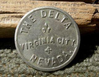 1900s Virginia City Nevada Nv (comstock Mining) The Delta (saloon 6 C St. ) Token photo