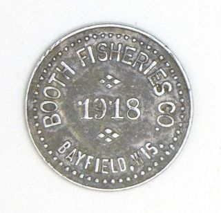 Bayfield Wisconsin Wisc Wis Wi Trade Token / Trade Check Booth Fisheries photo