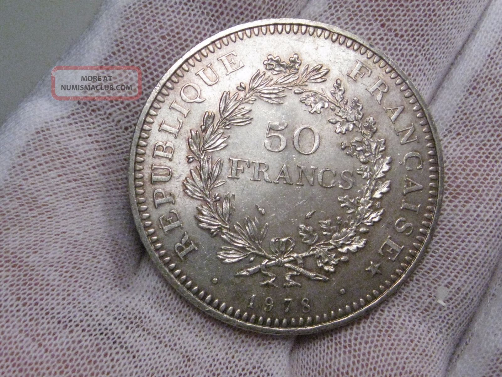 1978 France Silver 50 Francs Large Crown Coin.  Features; Hercules & Nymphs. France photo