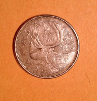 1963 Canada 25 Cent Quarter Dollar Vf Silver Young Queen Elizabeth No Tax photo
