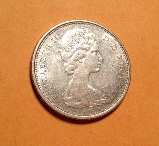 1966 Canada 50 Cent Au Silver Half Dollar Queen Elizabeth No Tx photo