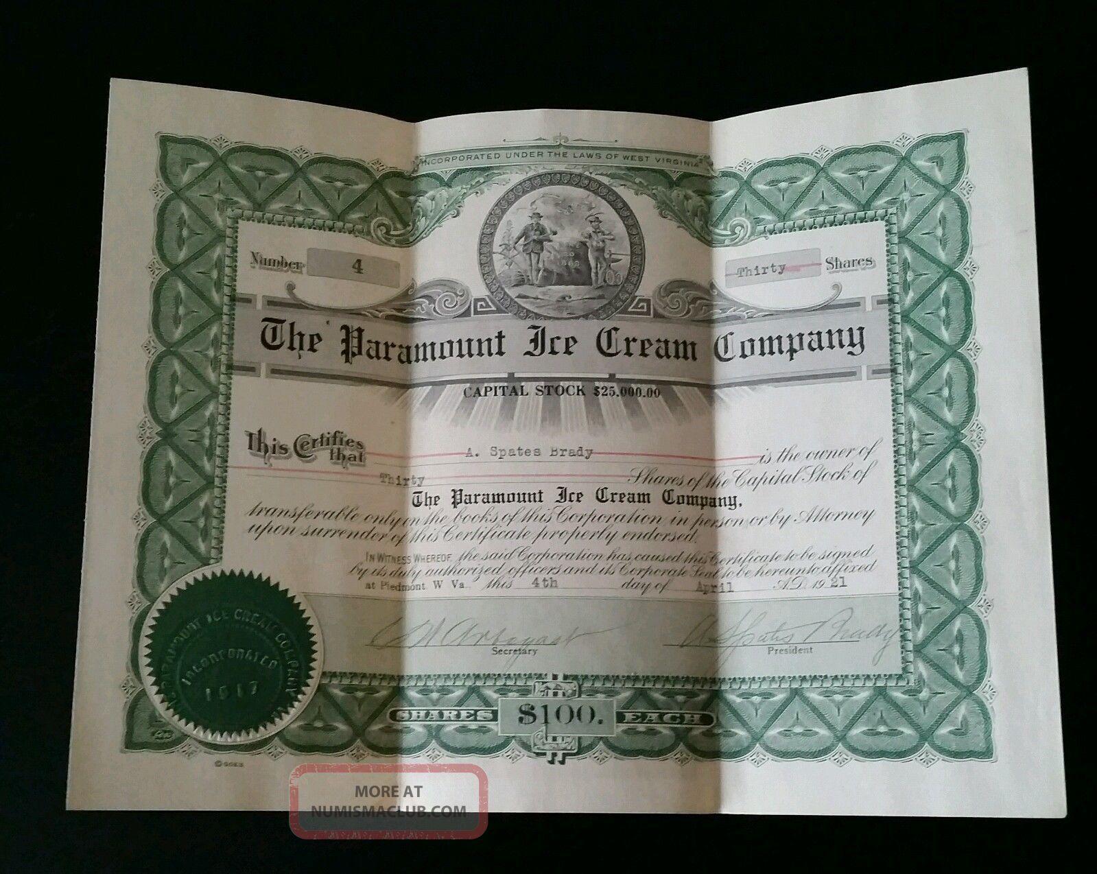The Paramount Ice Cream Company Stock Certificate 1921 Stocks & Bonds, Scripophily photo