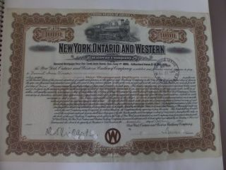 York,  Ontario And Western Rr Co.  1924 $1000 Gold Bond photo