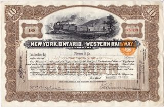 York Ontario And Western Railway Company,  10 Shares 1935,  Stock Certificate photo
