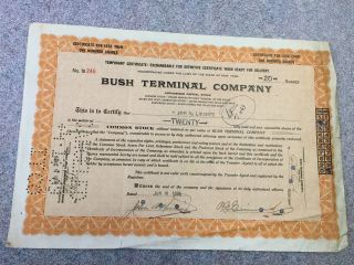 Bush Terminal Temporary Certificate Stock - 20 Shares - 1925 - Orange - 246 photo