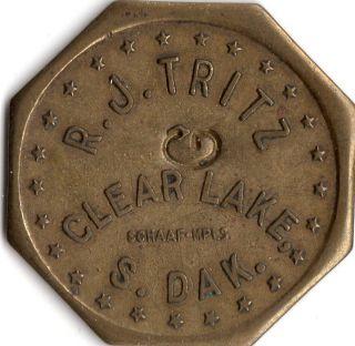 Clear Lake South Dakota R.  J.  Tritz Merchant Good For Trade Token photo