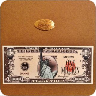 $1,  000,  000 Copper Penny From Atlantic City Plus One Million Thanks Novelty Note photo