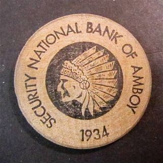 Vintage 1934 Wooden Nickel Security National Bank Of Amboy Indian Head Buffalo photo