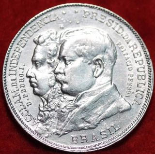 Uncirculated 1922 Brazil 2000 Reis Silver Foreign Coin S/h photo