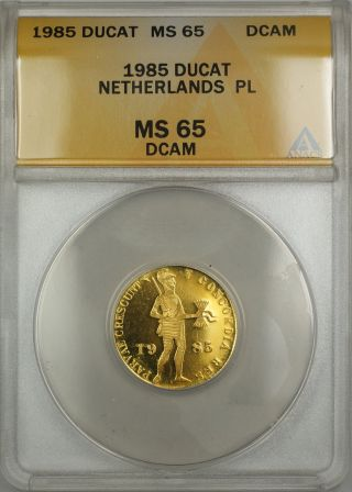 1985 Netherlands Proof - Like Pl Ducat Gold Coin Anacs Ms - 65 Dcam photo