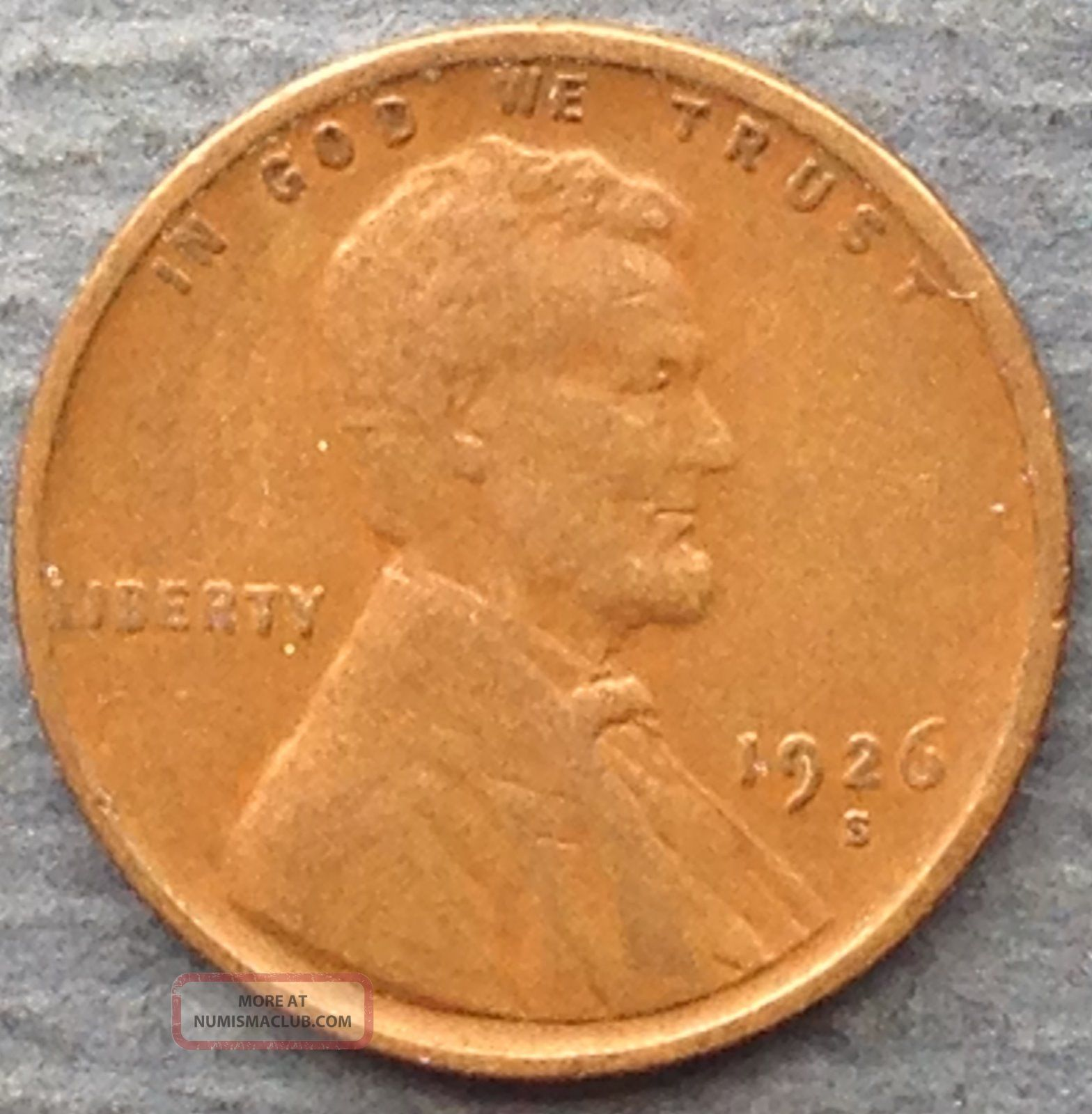 1926 - S Lincoln Wheat Cent F Small Cents photo