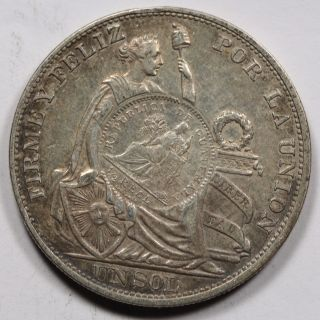 Guatemala 1894 1 Peso Silver Coin Xf/au 1/2 Real Counter Stamp On Peru 1893 Sol photo