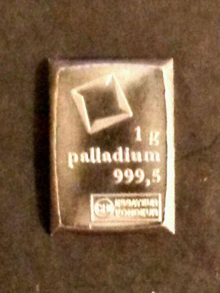 1 Gram Palladium Bar - Valcambi Suisse 999.  5 Pure Fine Palladium Bullion Bar photo