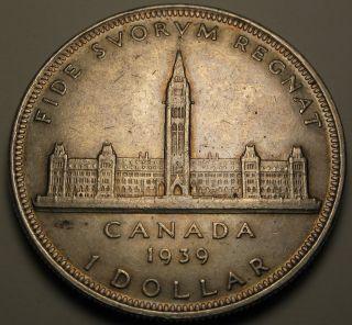 Canada 1 Dollar 1939 - Silver - George Vi.  - Royal Visit - Vf 363 photo