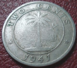 1941 Liberia 2 Cents In Good - Vg photo