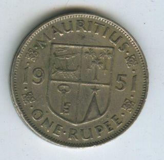 Mauritius 1951 1 Rupee Coin photo
