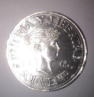 1965 Silver Patria Y Libertad Souvenir Nos En Exilio 925 Fine Silver Coin Type 2 photo