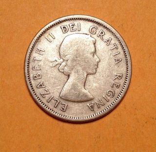 1958 Canada 25cent Silver Quarter Young Queen Elizabeth No Tax photo