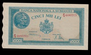 Romania 5000 Lei 1945 Pick 56 Unc -. photo