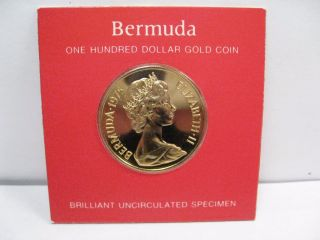 Proof 1975 Gold $100 Coin.  Bermuda.  Agw.  2034 Troy Oz. photo