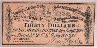 Civil War Confederate $1000 Bond C.  S.  Loan 1864 $30 Coupon Richmond Va 8550 photo
