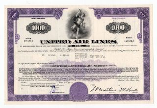 United Air Lines,  Inc.  Stock Certificate photo
