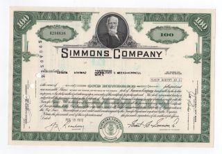 1972 Simmons Company Stock Certificate photo