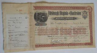 Henry Clay Frick Twice Signed 1900 Pittsburgh,  Virginia & Charleston Rwy Stock photo