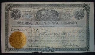 1904 Wyoming Queen Mining Company Stock Certificate,  Jelm,  Wyoming photo