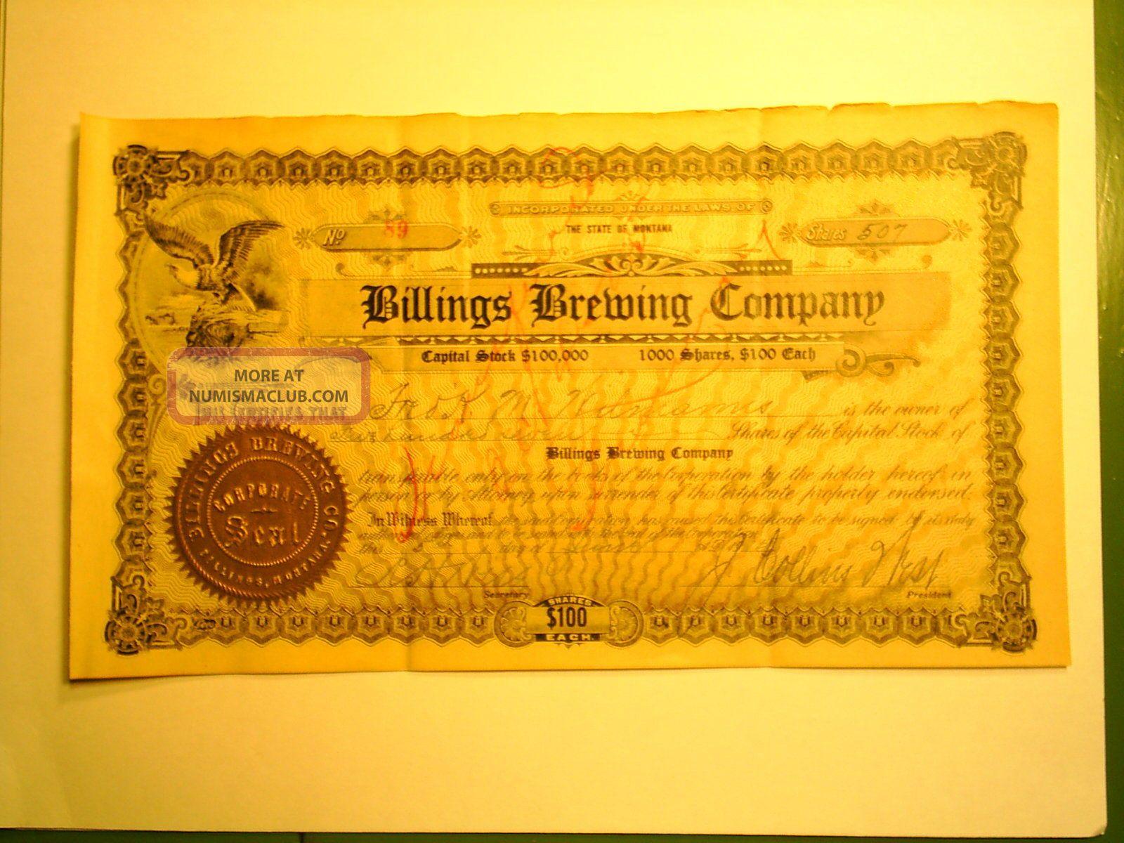 Antique 1915 Billings Brewing Stock Certificate (yellowstone,  Montana,  Beer) Stocks & Bonds, Scripophily photo