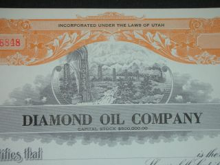 1900 ' S Diamond Oil Company Uncirculated Stock Certificate Utah photo