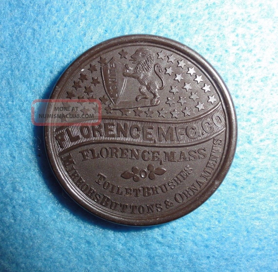 Hard Rubber Merchant Token - - 1876 Centennial Exposition,  Florence (mass) Mfg.  Co. Exonumia photo