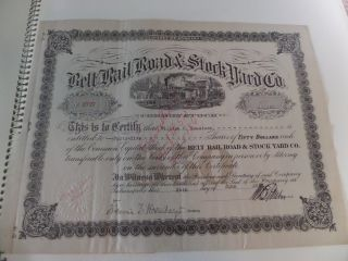 Belt Rail Road & Stock Yard Co.  Indiana 1920 Stock Certificate Revenue Stamps photo