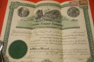 Rare Vintage 1902 Yreka Copper Company State Of Washington 250 Shares Stock photo