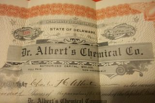 Rare Vintage 1912 Dr Alberts Chemical Company State Of Delaware 100 Shares photo