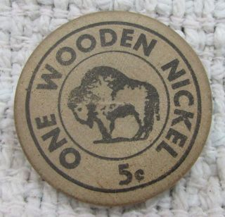 Bison Buffalo Vintage Wooden Nickel Delmar Debbaut Milroy Mn Minnesota S/h photo
