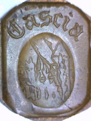' Cascia ' Coin/trench Art: Love Token On A Wheat Cent: No Sure : photo