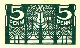 Estonia Banknote 5 Penni 1919.  Xf, photo