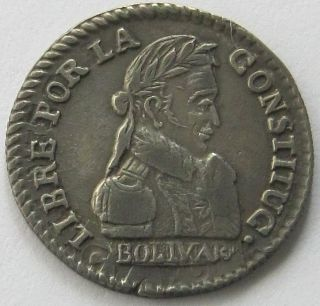 Bolivia,  Silver Coin,  1/2 Sol 1830 Jl,  Top photo