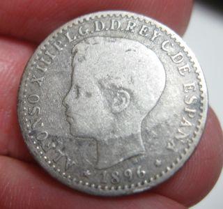 1896 (puerto Rico) Pgv (silver) 10 Centavos Very Scarce photo