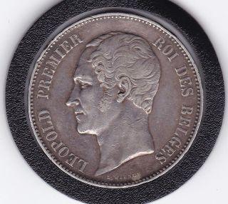 1865 Leopold Premier 5 Franc Silver Belgian Coin photo