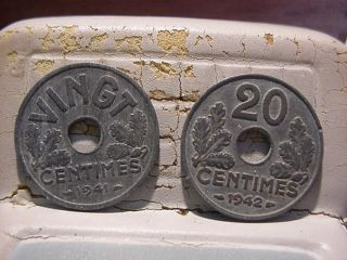 1941 & 1942france 20 Centimes photo