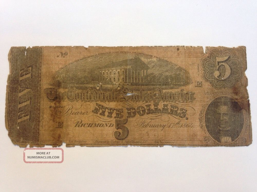 1864 Confederate States Of America $5 Five Dollar Bill Civil War Currency Note Paper Money: US photo
