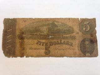 1864 Confederate States Of America $5 Five Dollar Bill Civil War Currency Note photo