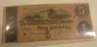 U.  S.  Confederate Five Dollars February 17th 1884 Richmond photo