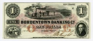 1855 $1 The Bordentown Banking Co.  - Jersey Note W/ Train Cu photo