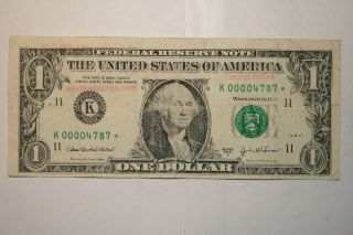 Series 2003a $1 Federal Reserve Star Note With Low Serial Number (k00004787) photo