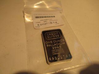 1 Ounce Palladium Credit Suisse Ingot :mint In Plastic $565.  00 photo