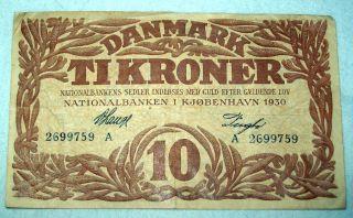 Denmark Danmark 10 Kroner Tikroner 1930 Banknote photo